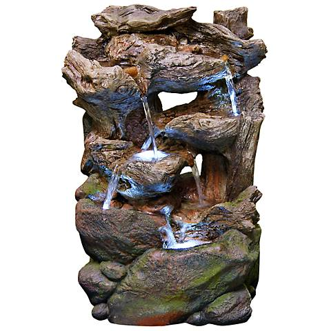 "Rock Wall Small LED Indoor - Outdoor 22"" High Table Fountain"