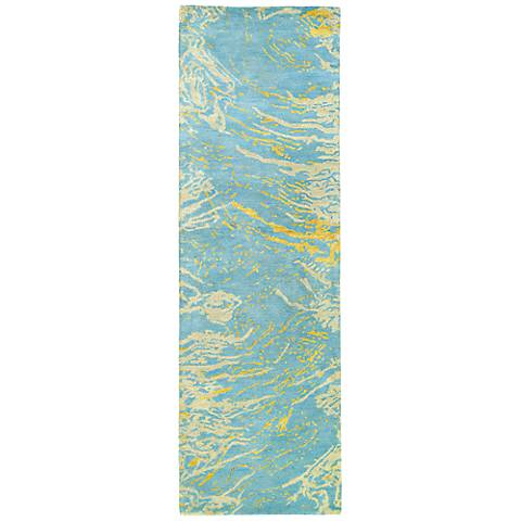 Kaleen Brushstrokes BRS01-17 Light Blue Wool Area Rug