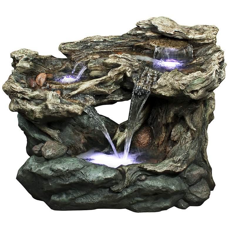 "Rainforest Waterfall LED Tiered 30"" High Floor Fountain"