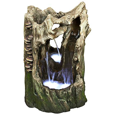 "Rainforest Waterfall 22"" High LED Tree Trunk Table Fountain"