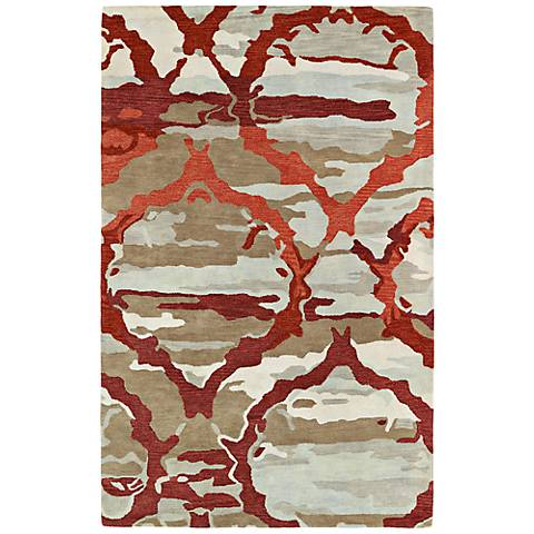 Kaleen Brushstrokes BRS02-25 Taupe and Red Wool Area Rug