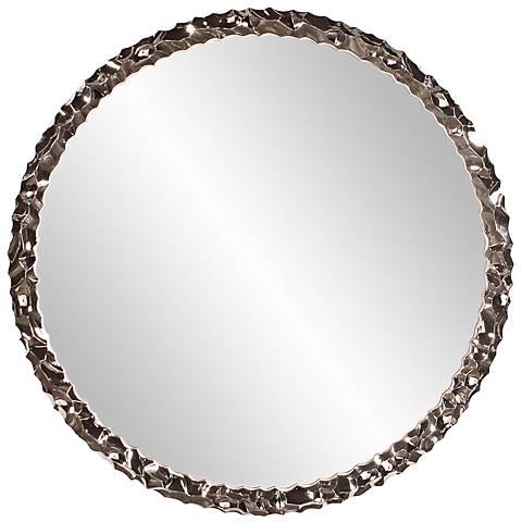 "Howard Elliott Memphis 36"" Round Textured Nickel Mirror"
