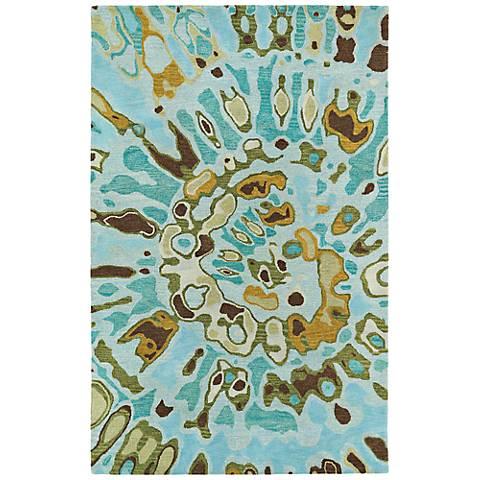 Kaleen Brushstrokes BRS04-91 Teal Blue Wool Area Rug