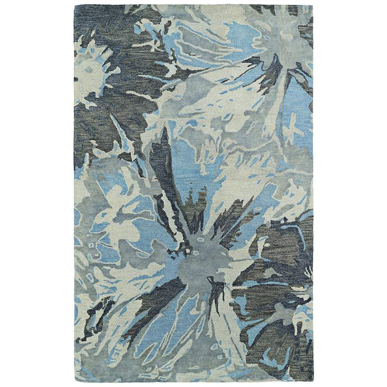 "Kaleen Brushstrokes BRS06-75 5'x7'9"" Blue and Gray Wool Rug"
