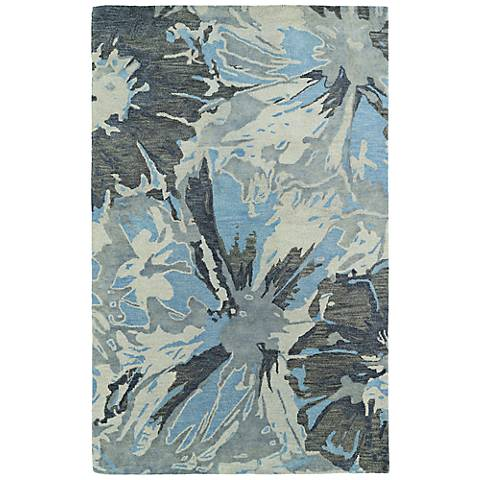 Kaleen Brushstrokes BRS06-75 Blue and Gray Wool Area Rug