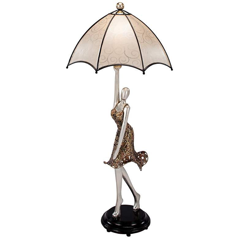 Dancer with Umbrella Hand-Painted Accent Table Lamp