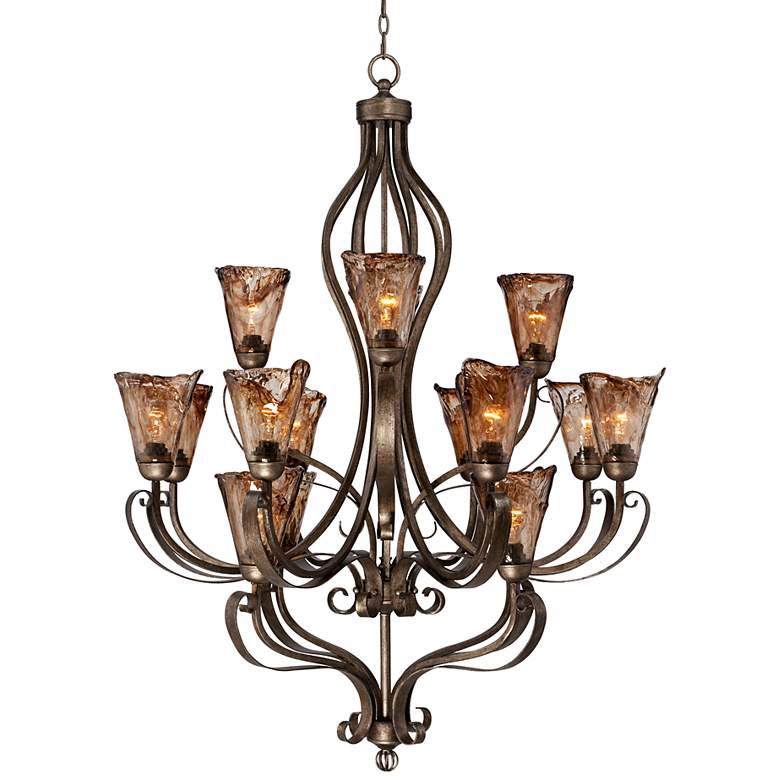 "Organic Amber Scroll 39 3/4 "" Wide 16-Light Bronze Chandelier"