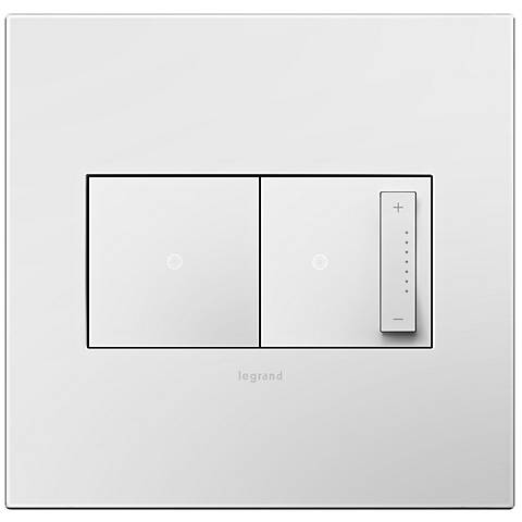 adorne Gloss White 2-Gang Wall Plate with Switch and Dimmer