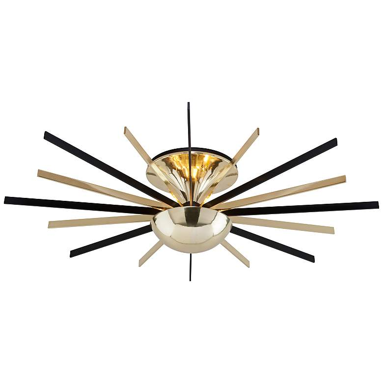 "Atomic 36 1/4"" Wide Brass and Black LED Ceiling Light"
