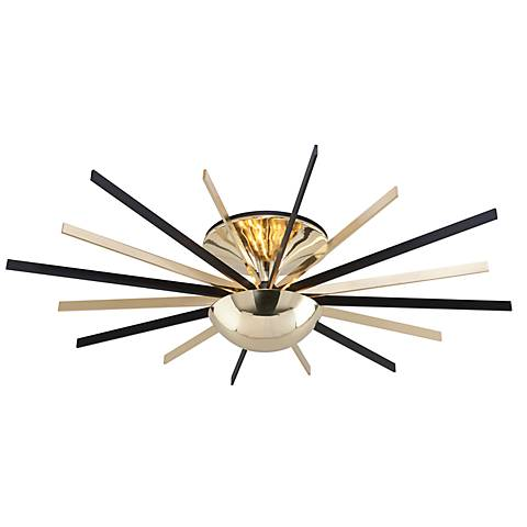 "Atomic 48"" Wide Brass and Black LED Ceiling Light"