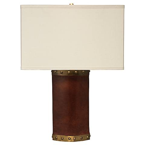 Jamie Young Pannier Tobacco Leather Table Lamp