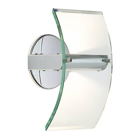 Arc Panel Glass and Chrome Wall Sconce