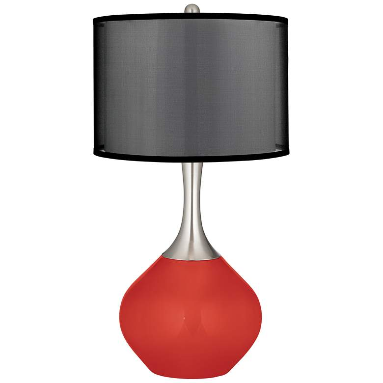 Cherry Tomato Spencer Table Lamp with Organza Black Shade