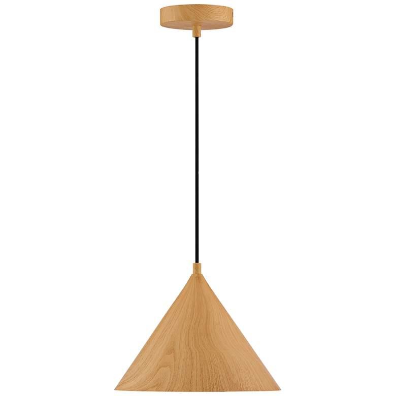 "Timber 10 1/2"" Wide Wood Grain Conical LED Mini Pendant"