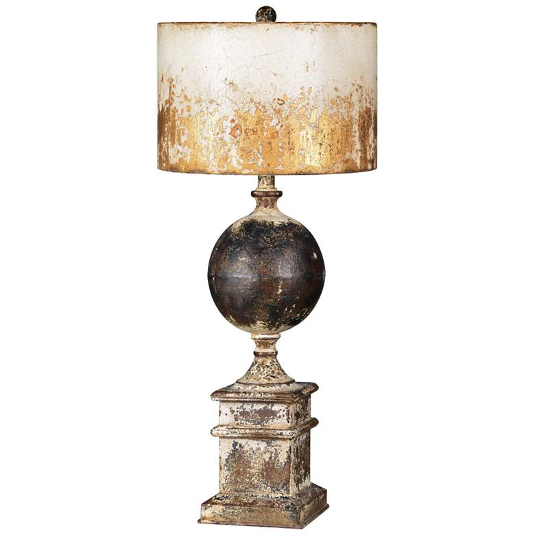 Shiloh Weathered Metal-Cream, Black and Brown Table Lamp