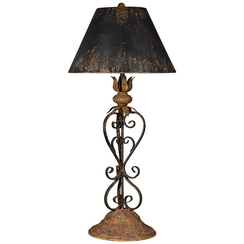 Forty West Stokes Rustic Black and Gold Scroll Table Lamp