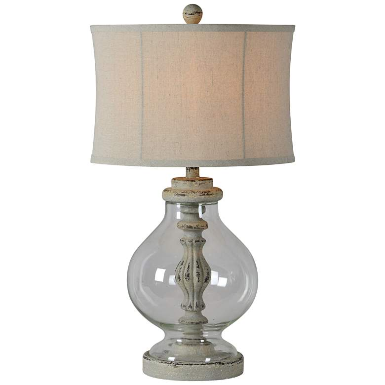 Emily Distressed Blue with Clear Glass Table Lamp