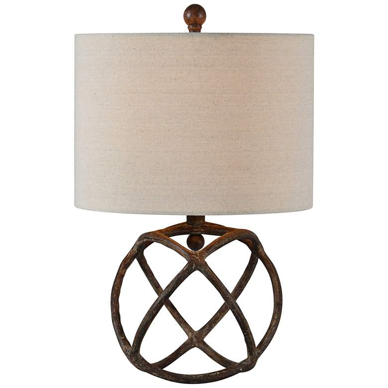 Forty West Duncan Antique Bronze Open Cage Accent Table Lamp