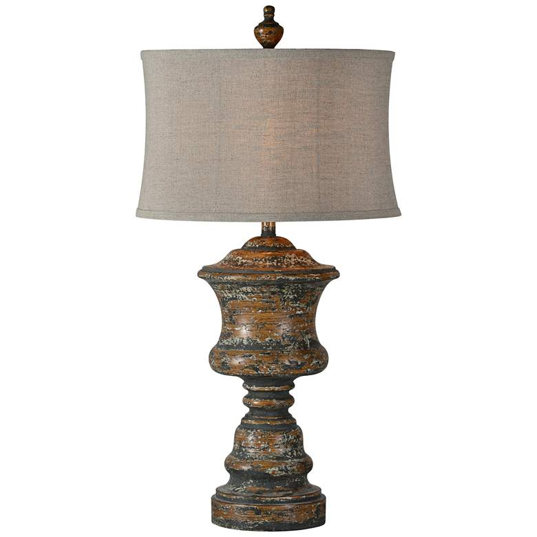Forty West Hannah Medium Brown w/ Gray Distressed Table Lamp