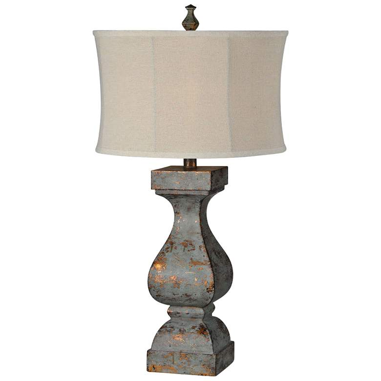 Eloise Blue Distressed with Copper Highlights Table Lamp