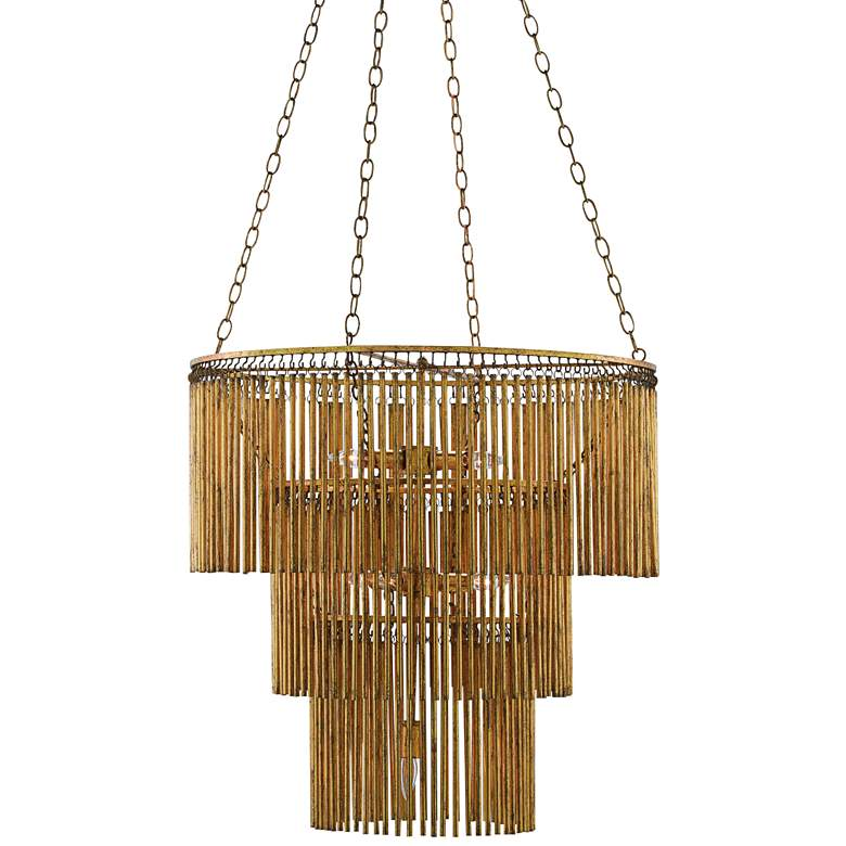 """Currey and Company Mantra 30""""W Gold Leaf 3-Tier Chandelier"""