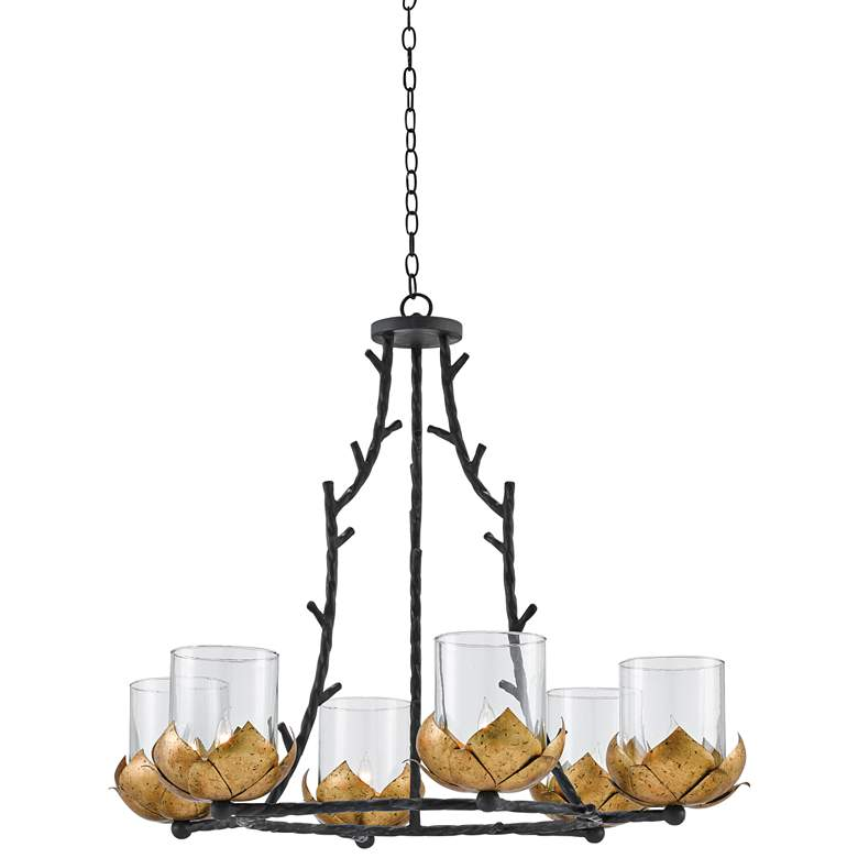 """Water-Lily 37 1/2""""W Gold Leaf and Black 6-Light Chandelier"""