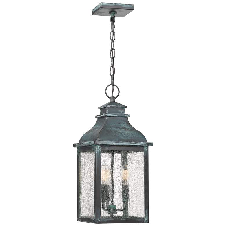 "Quoizel Branson 20 1/4""H Aged Verde Outdoor Hanging Light"