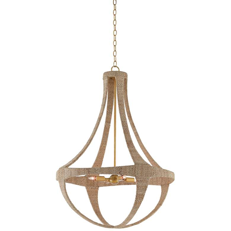 """Ibiza 28"""" Wide Natural Abaca Rope 4-Light Chandelier"""