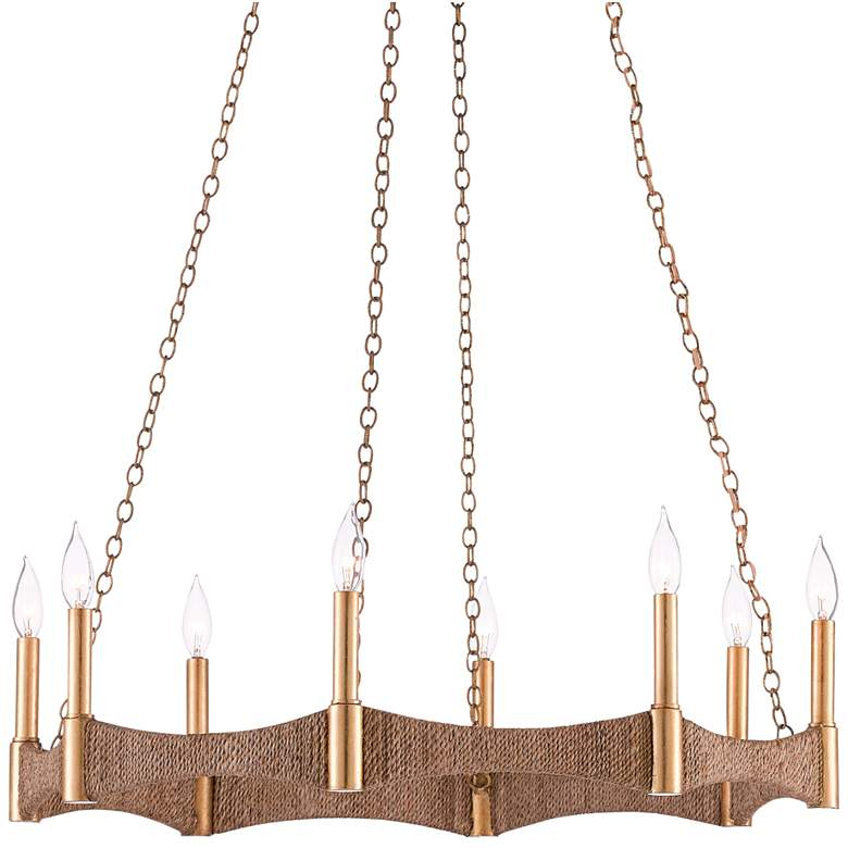 """Mallorca 32"""" Wide Natural Abaca Rope 8-Light Chandelier"""