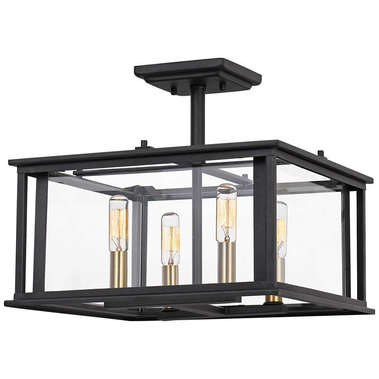 "Quoizel Citadel 14"" Wide Earth Black 4-Light Ceiling Light"