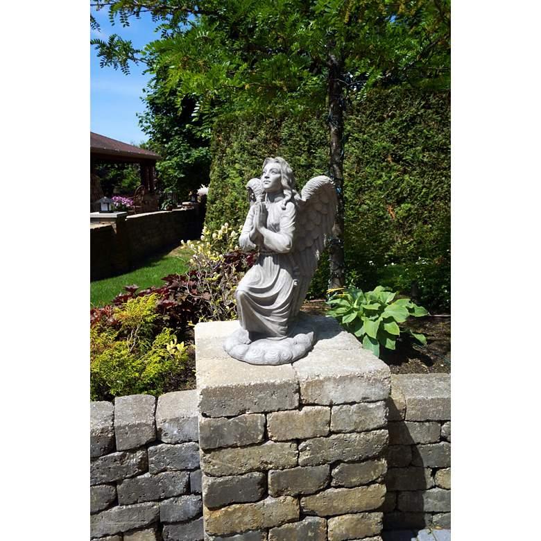 "Kneeling Angel 26"" High Trevia Graystone Outdoor Statue"