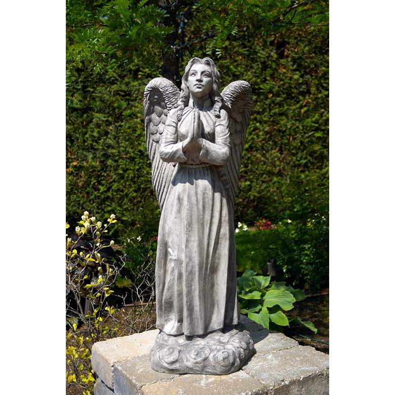 "Standing Angel 37"" High Trevia Graystone Outdoor Statue"