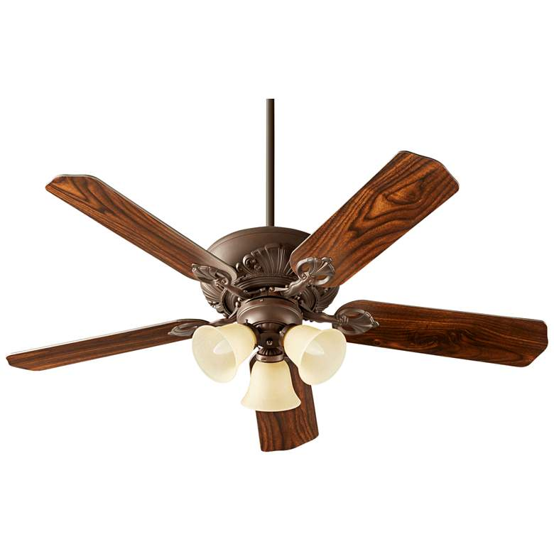 "52"" Chateaux Uni-Pack Oiled Bronze Amber Glass Ceiling Fan"