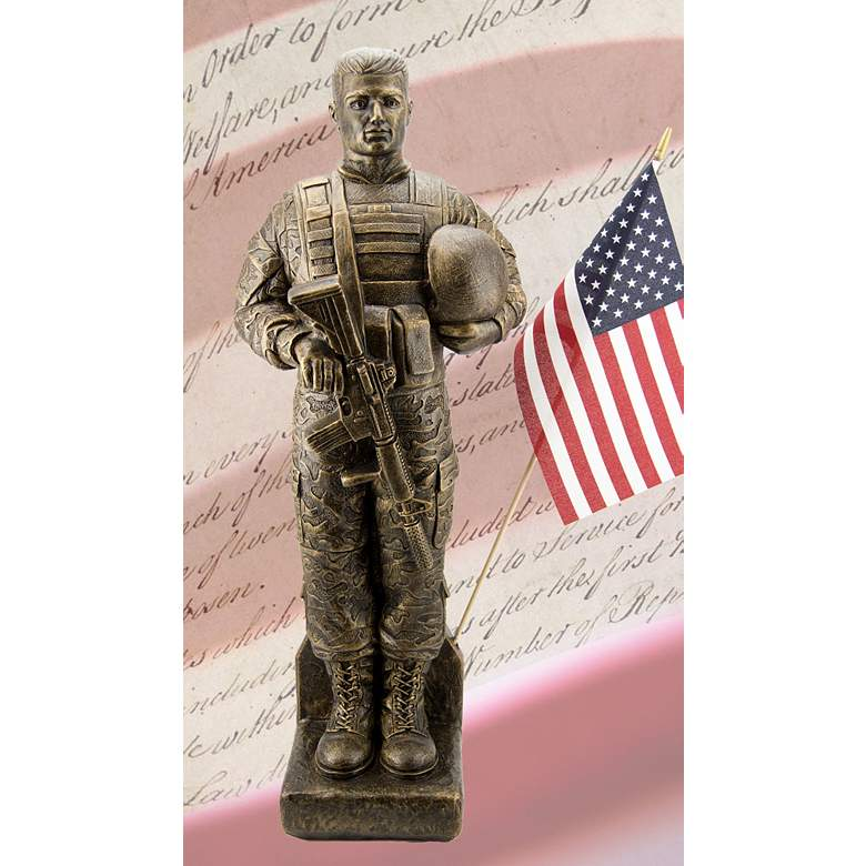 """Camo Soldier 30"""" High Bronze Outdoor Statue with Flag"""