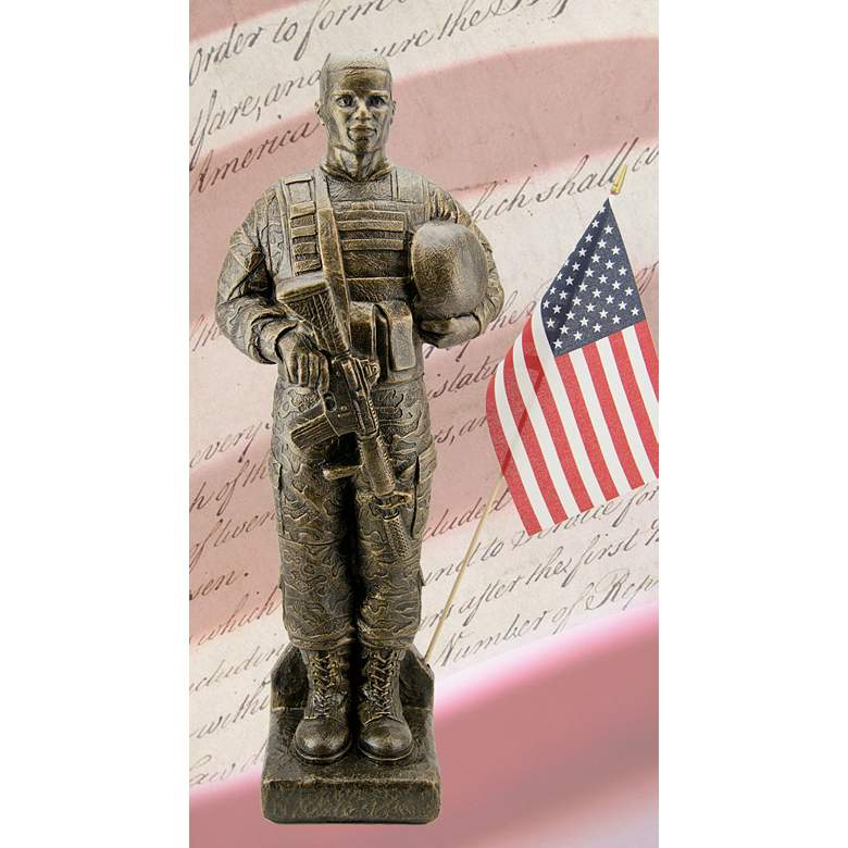 """Camo Soldier - African American 30""""H Bronze Statue with Flag"""