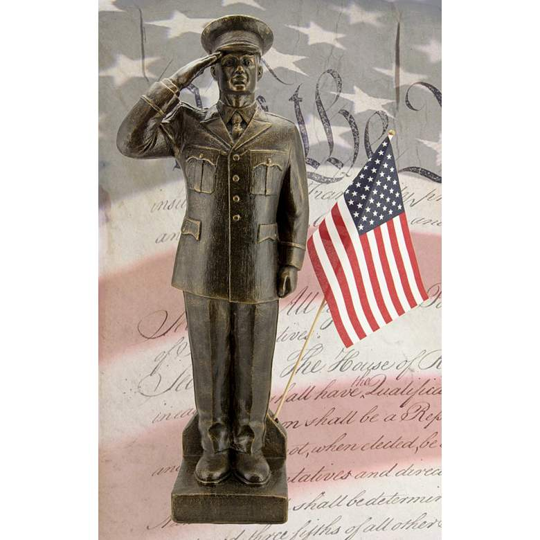 "Army Dress Uniform 30"" High Bronze Outdoor Statue with Flag"