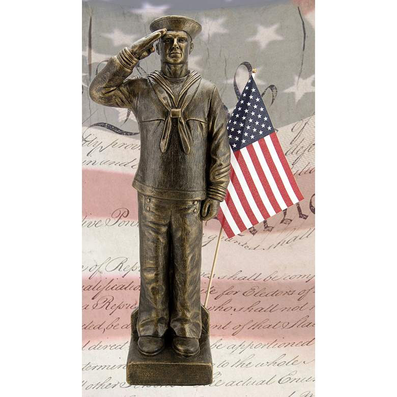"Navy Sailor Uniform 30"" High Bronze Outdoor Statue with Flag"