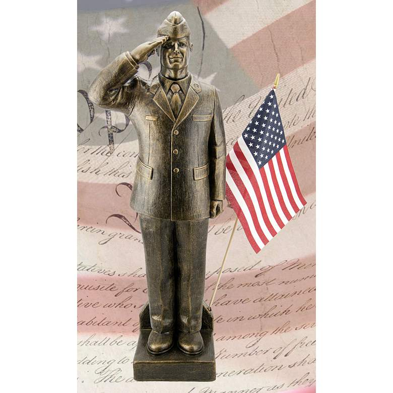 """Air Force Dress Uniform 30""""H Bronze Outdoor Statue with Flag"""