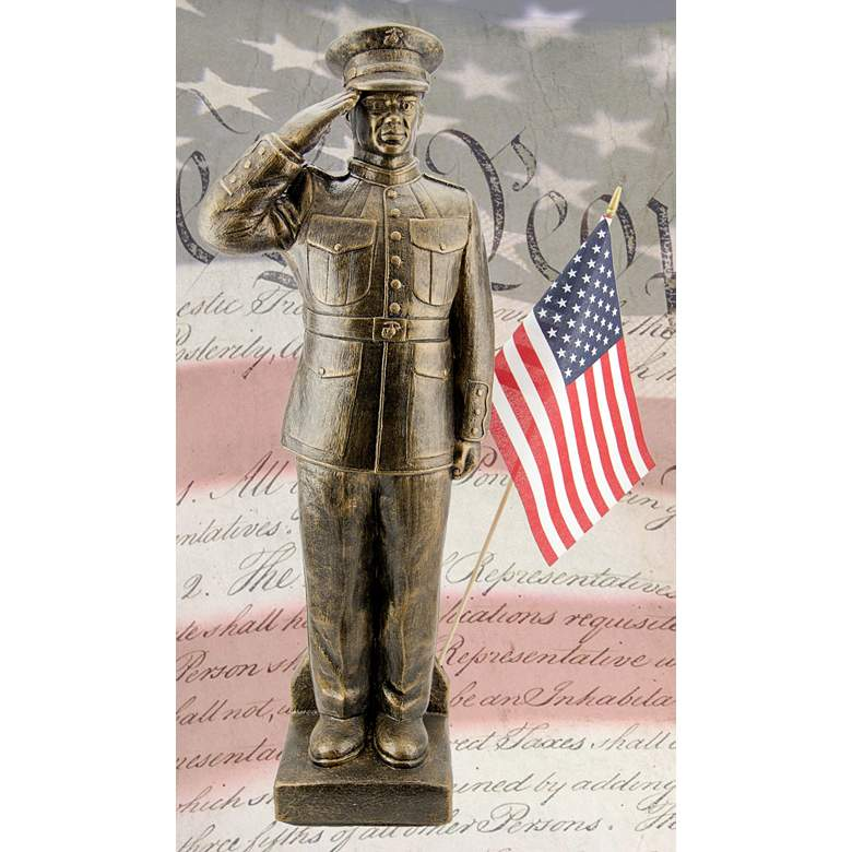 "Marines Dress Uniform 30""H Bronze Outdoor Statue with Flag"