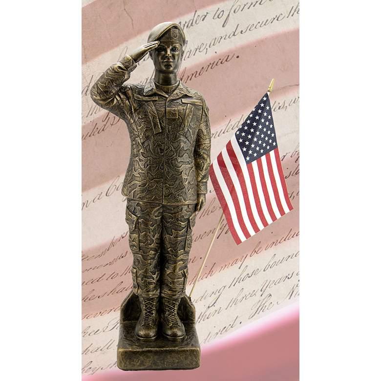 "Henri Studio Camo Woman 30""H Bronze Outdoor Statue with Flag"
