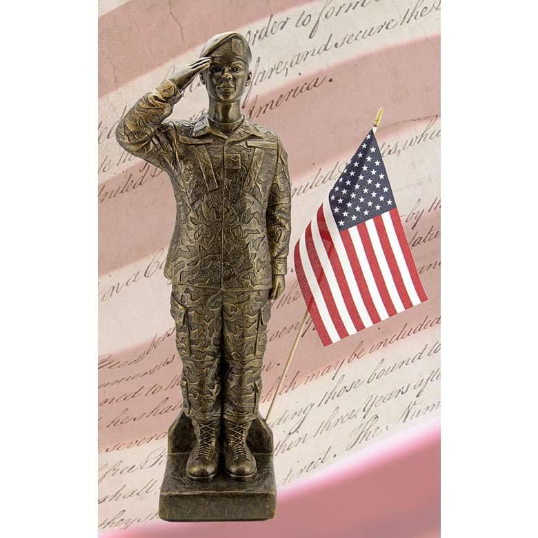 "Camo Woman - African American 30"" High Bronze Outdoor Statue"