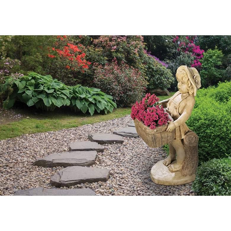 "Henri Studio Flower Girl Planter 28""H Hi-Tone Outdoor Statue"