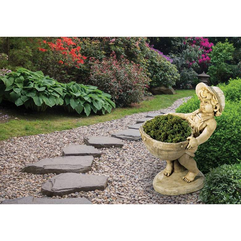 "Henri Studio Flower Boy Planter 24""H Hi-Tone Outdoor"