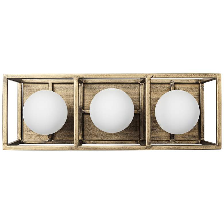 """Plaza 14 1/2"""" Wide Gold and Carbon 3-Light"""