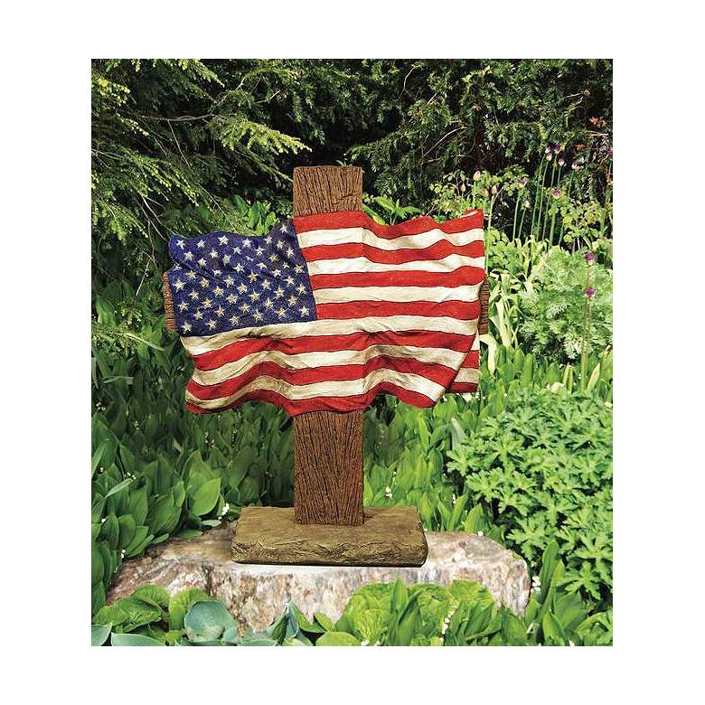 "Henri Studio God and Country 32"" American Flag Garden Accent"