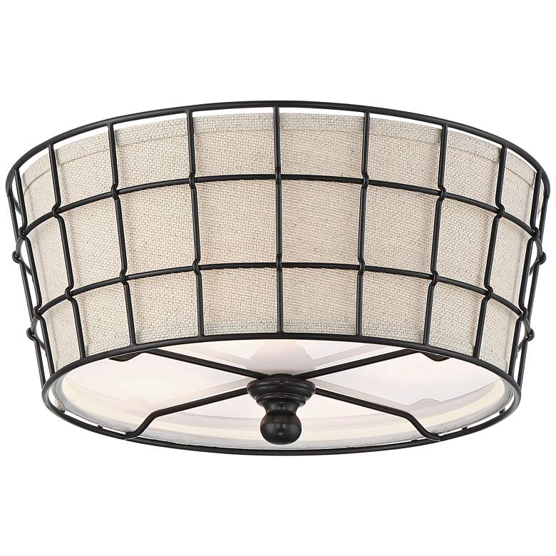 """Taya 16"""" Wide Burlap and Wire Ceiling Light"""
