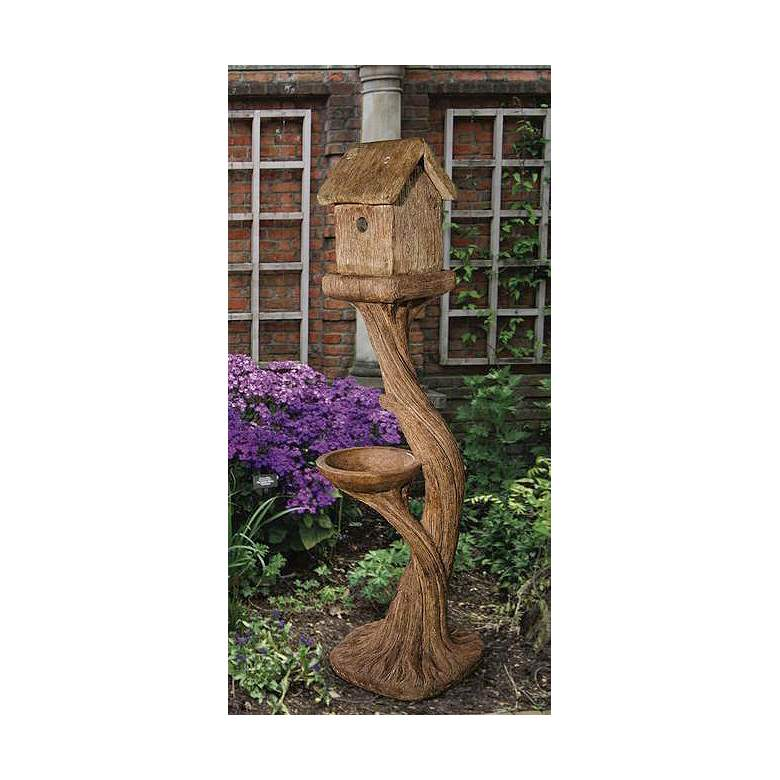 "Bird House and Feeder 49 1/2"" High Relic Lava Garden Accent"