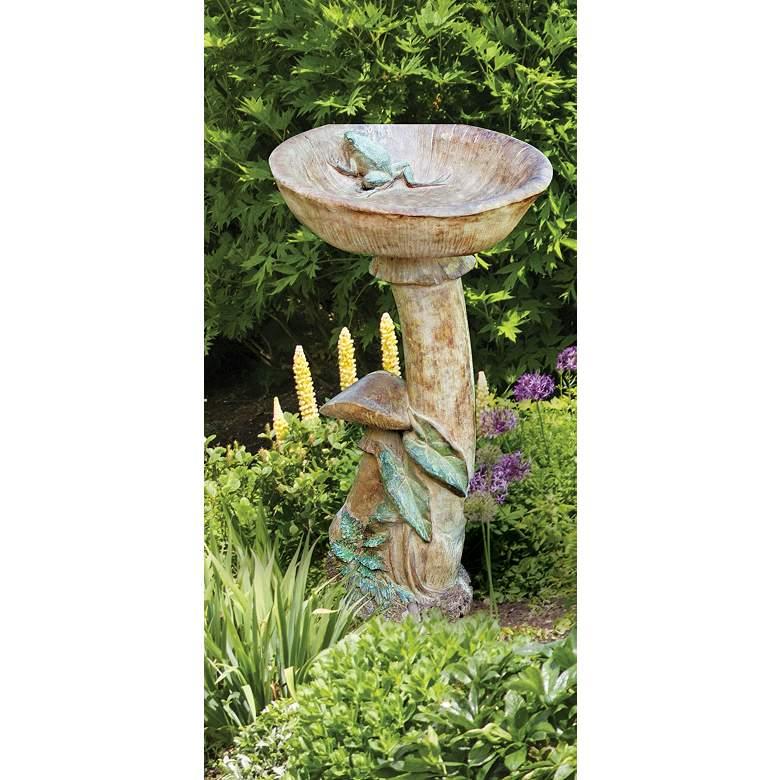 "Frog and Mushroom 24"" High Garden Birdbath"