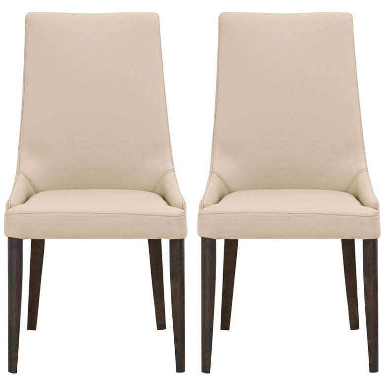 Aurora Flaxen Leather and Dark Wenge Dining Chairs Set of 2