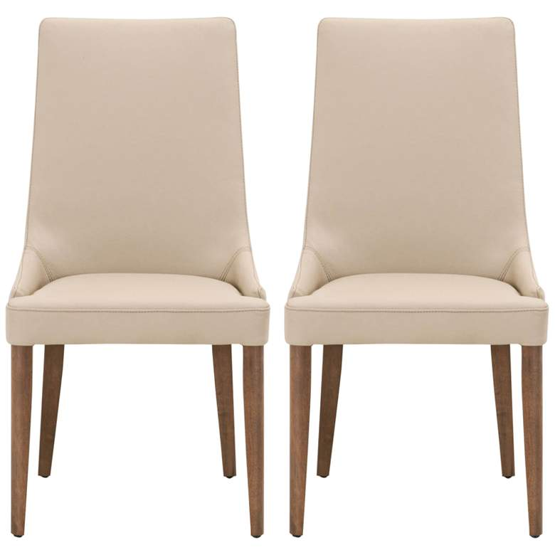 Aurora Flaxen Leather and Walnut Wood Dining Chairs